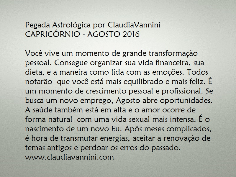 CAPRICORNIO AGOSTO 2016