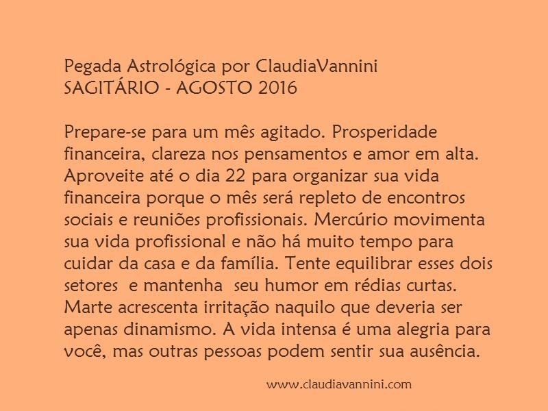SAGITARIO AGOSTO 2016